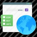 domain searching, www, world wide web, web address, web domain icon