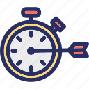execution, performance, project, rate, timer icon