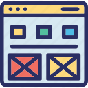 ecommerce, layout, online, page, platform icon