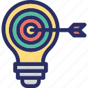 achieve, fulfillment, goals, idea, lightbulb icon