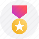 achievement, award, badge, bravery, medal, star icon