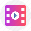 filmstrip, media, multimedia, play, play button, resume icon