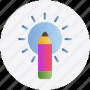 concept, creative, inspiration, pencil, sun icon