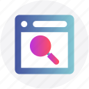 application, find, magnifier, searching, web icon
