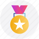 award, gold medal, medal, star, winner icon