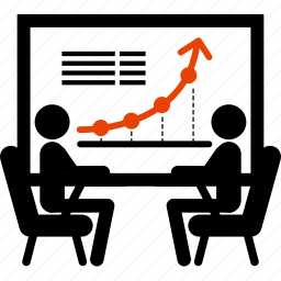 arrow, business, finance, financial, meeting, present, statistics icon