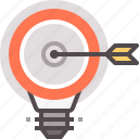 acheive, fulfillment, goals, idea, lightbulb, realization, success icon