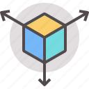 scaling, framework, 3d, module, deployment, component, cube icon