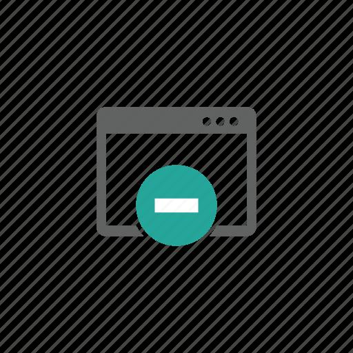 delete, minus, page, remove, web, web page icon