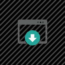 arrow, down, download, page, web, web page icon