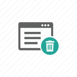 delete, page, remove, trash, trash bin, web, web page icon