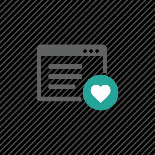 favorite, heart, like, love, page, web, web page icon