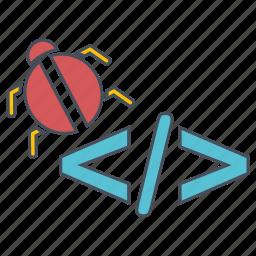 bug, code, seo, web icon