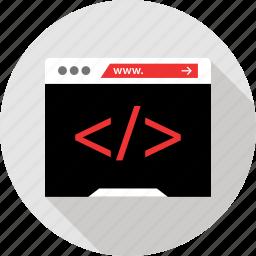 browser, code, debug, website icon