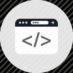 code, develope, development, www icon