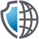 global, security, shield, spyware icon