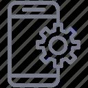 configuration, gear, mobile, phone, settings, smartphone, telephone icon