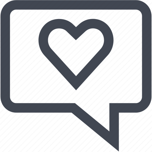 chat, heart, love, user icon