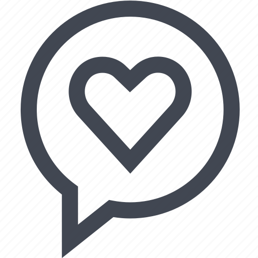 bubble, chat, conversation, heart icon