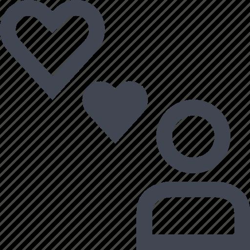 heart, person, user icon