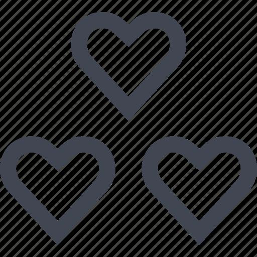 heart, hearts, love, three icon
