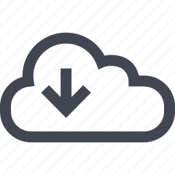 arrow, cloud, down, online, seo icon