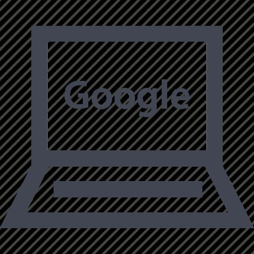 google, laptop, online, seo icon