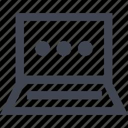 laptop, loading, online, seo, three icon
