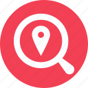 find location, magnifier, map pin in magnifier, place, view location, view place icon