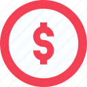 cash, coin currency, dollar coin, dollar sign, money, usd icon