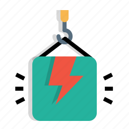 bolt, climb, crain, electricity, lift, package, weight icon