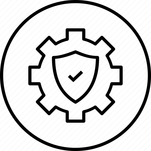 gear, protect, safety, secure, settings, shield icon