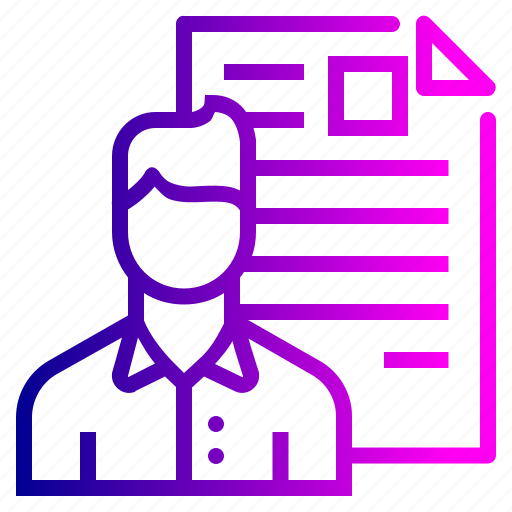 avatar, document, employee, man, portfolio, resume, shortlisted icon