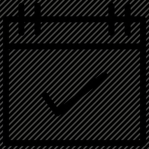 calendar, checkmark, date, event icon icon