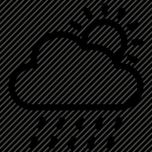 atmosphere, colud, rain, sun, weather icon icon