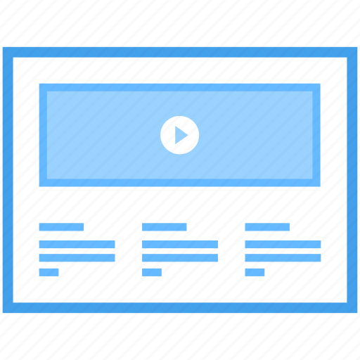 online interface video blog, video marketing, videography, web layout, web wireframe icon