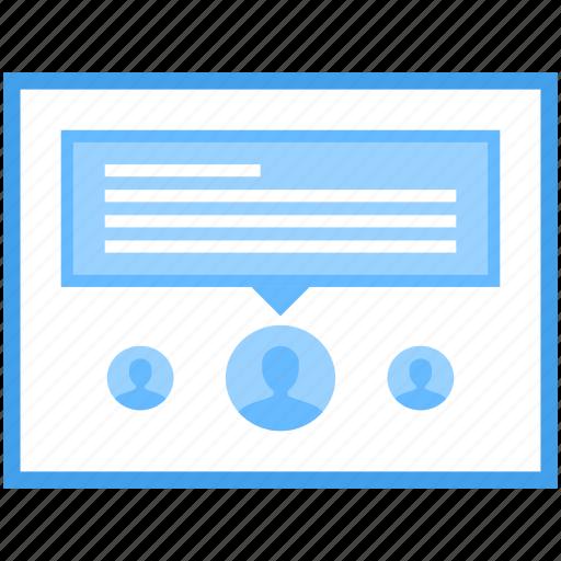 internet forum, online comment, online discussion, online feedback, web comment icon