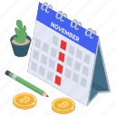 financial event schedule, payday, payment plan, payment schedule, payment timetable icon