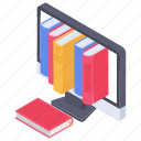 digital library, e library, electronic library, online bookstore, online library icon