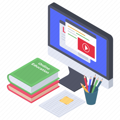 ebook, modern education, online course, online education, online lesson icon