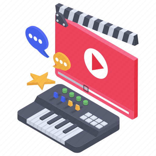 modern education, sound composing, video guide, video lesson, video tutorial, vlog services icon