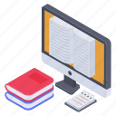 digital library, e library, electronic library, online bookstore, online library software icon