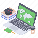 e learning, modern education, online course, online education, online lesson icon