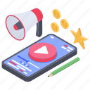 online video marketing, online video promotion, video advertising, video app, video streaming icon