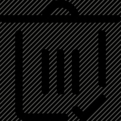accept, remove, trash icon
