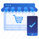 business, ecommerce, mobile, online, secure, shopping, web icon