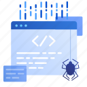 bug, code, coding, development, online, qa, web icon