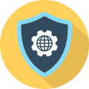 cog, earth, security, settings, shield icon