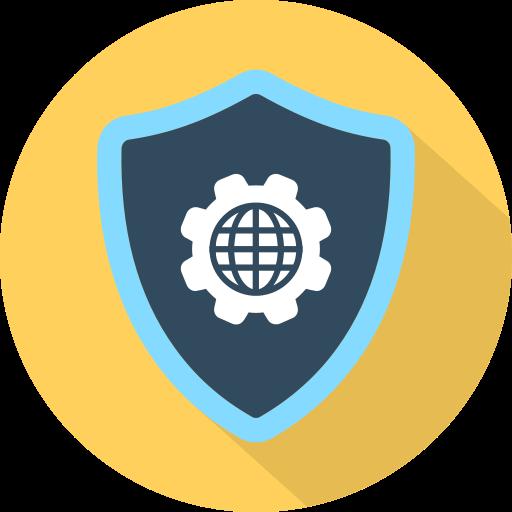 cog, earth, security, settings, shield icon