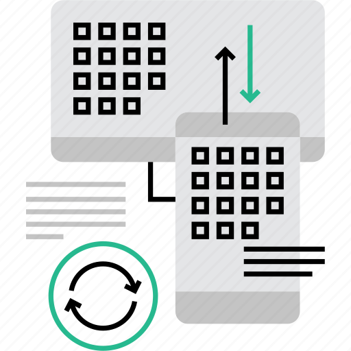 data, devices, pair, pairing, sharing, sync, synchronization icon